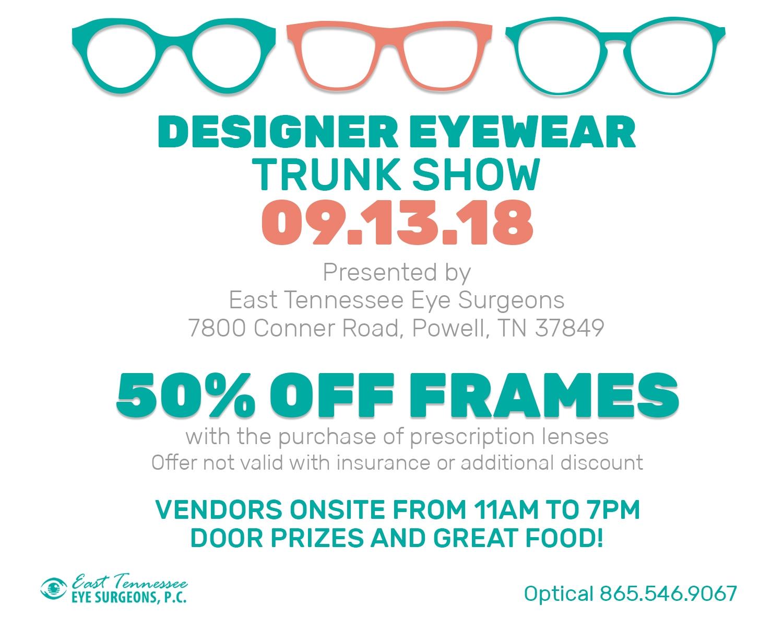 50% Off Frames At Our Designer Eyewear Trunk Show on 9/13 | East ...